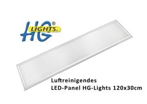 Das HG-Lights® luftreinigende LED-Panel 120x30cm schafft in 10 Stunden eine Luftreinigung von ca. 108.000 Litern Raumluft und bei starker Verschmutzung ca. 65.000 Liter.