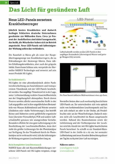 Das Büromagazin Alex berichtet über die luftreinigenden LED-Panels von HG-Lights